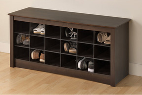 I guess this would do.... Everett Espresso Shoe Storage Cubby Bench from Overstock £143.29