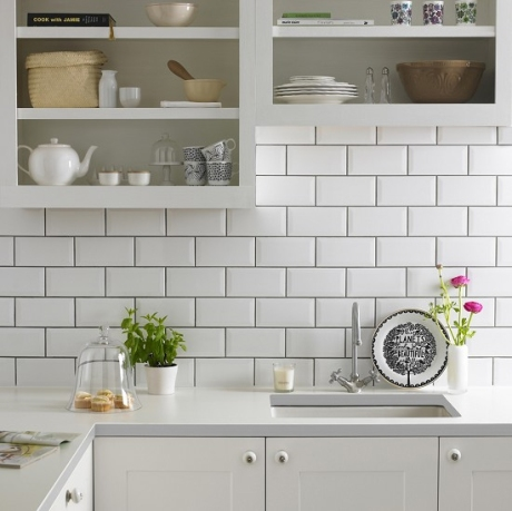 Topps Tiles White Metro, bevelled jewels in a kitchen
